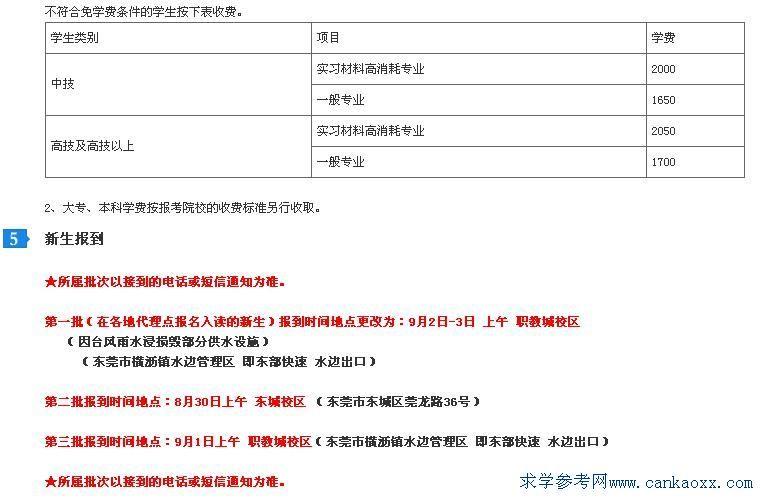 东莞市技师学院2014年新生入学须知